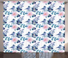 Mavi Kuş ve Çiçek Fon Perde Dekoratif Çeyizlik