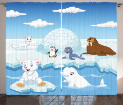 Kutup Hayvanları Desenli Fon Perde Mavi Beyaz