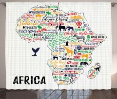 Afrika Hayvan Haritası Fon Perde Beyaz Fonlu