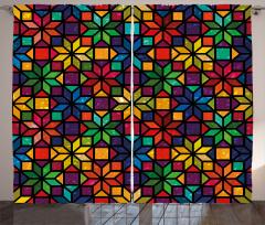 Rengarenk Vitray Desenli Fon Perde Şık Yıldız