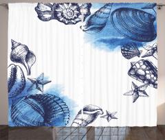 Mavi Deniz Kabuğu Desenli Fon Perde Dekoratif