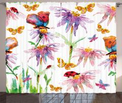 Kelebekler ve Uğur Böcekleri Fon Perde Şık Tasarım