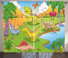 Sevimli Dinozorlar Desenli Fon Perde Yeşil Ağaç