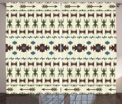 Etnik Aztek Desenli Fon Perde Geometrik Ok