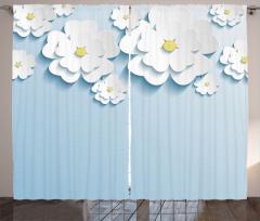 Beyaz Mavi 3D Çiçekler Fon Perde Dekoratif