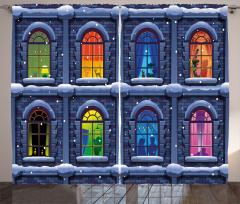 Rengarenk Pencereli Ev Fon Perde Karlı Gece