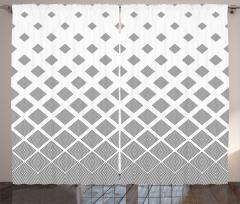 Siyah Beyaz Eşkenar Dörtgenler Fon Perde Dekoratif