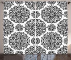 Siyah Beyaz Mandala Çiçekleri Fon Perde Trend