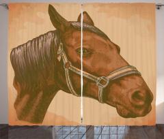 Kahverengi At Portresi Fon Perde Nostaljik Şık