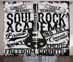 Konser Afişi Desenli Fon Perde Siyah Beyaz Gitar