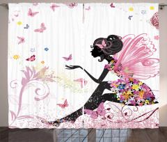 Kelebek Elbiseli Kız Fon Perde Peri Masalı