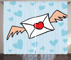 Mektup Taşıyan Kuş Desenli Fon Perde Romantik