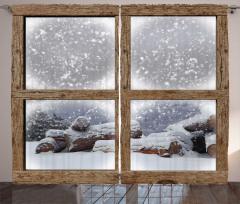 Karlı Pencere Desenli Fon Perde Kahverengi Şık
