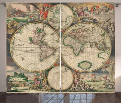 Nostaljik Dünya Haritası Desenli Fon Perde Bej