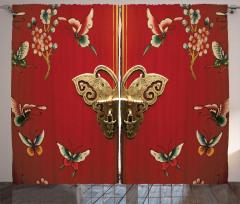 Antika Kapı Desenli Fon Perde Kelebek Çiçek