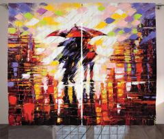 Şemsiyeli Aşıklar Desenli Fon Perde Romantik Sanat