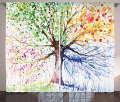Rengarenk Ağaç Desenli Fon Perde Sanat Doğa