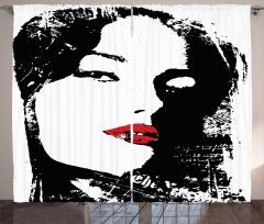 Kırmızı Rujlu Kız Fon Perde Sanat Siyah Beyaz