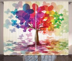 Kelebekli Balonlu Ağaç Fon Perde Rengarenk Şık