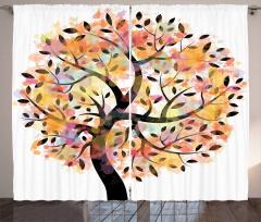 Dekoratif Ağaç Desenli Fon Perde Sulu Boya Etkili