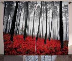 Kırmızı Çiçekli Sisli Orman Fon Perde Romantik