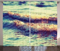 Köpüklü Dalgalar Desenli Fon Perde Deniz Dekoratif