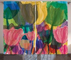 Sulu Boya Çiçekler Desenli Fon Perde Sanat Şık