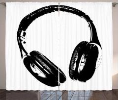 Kulaklık Desenli Fon Perde Müzik Siyah Beyaz