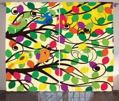 Yaprak ve Kuş Desenli Fon Perde Şık Tasarım