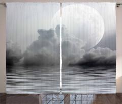 Bulutlu Gökyüzü ve Ay Fon Perde Gri Deniz Şık