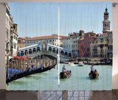 Nostaljik Şehir Desenli Fon Perde Venedik Gondol