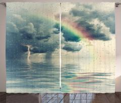Gökkuşağı ve Bulutlar Fon Perde Deniz Yağmur
