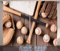 Beyzbol Topu ve Sopası Fon Perde Kahverengi Spor