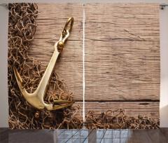 Altın Çapa Desenli Fon Perde Kahverengi Nostaljik