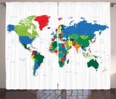Dünya Haritası Desenli Fon Perde Mavi Yeşil Beyaz