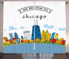 Şikago'nun Gökdelenleri Desenli Fon Perde Mavi