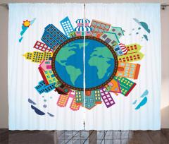 Dünya Binaları Desenli Fon Perde Rengarenk Şık