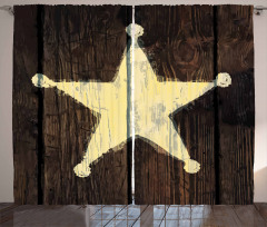 Sarı Yıldız Desenli Fon Perde Kahverengi Nostaljik
