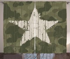 Krem Yıldız Desenli Fon Perde Kamuflaj Arka Planlı