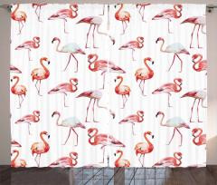 Flamingo Desenli Fon Perde Şık Tasarım Pembe