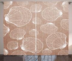 Deniz Kabukları Desenli Fon Perde Şık Tasarım