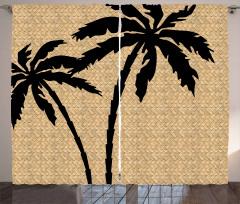 Siyah Palmiye Desenli Fon Perde Hasır Doku Şık