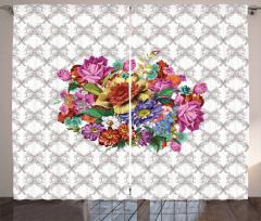Rengarenk Çiçek Buketi Desenli Fon Perde Nostaljik
