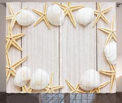 Beyaz Deniz Kabuğu Desenli Fon Perde Denizyıldızı