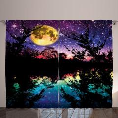 Göl Kenarında Gece Desenli Fon Perde Yıldız Ay