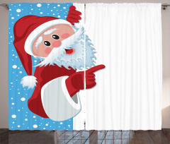 Sevimli Noel Baba Fon Perde Kırmızı Beyaz Mavi