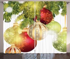 Dekoratif Yılbaşı Topları Fon Perde Ağaç Nostaljik