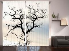 Yapraksız Ağaç Fon Perde Siyah Beyaz Gökyüzü