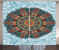 Mavi Mandala Çiçeği Desenli Fon Perde Dekoratif