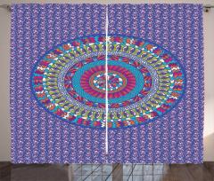Mandala Desenli Fon Perde Minik Dekoratif Çiçekli